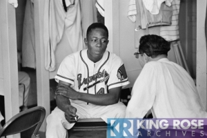 Hank Aaron sitting in locker room