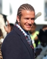 England's Manchester United soccer captain, David Beckham sports a new  braided hairstyle on his arrival in Durban, South Africa, Tuesday May 20 2003. Beckham is in South Africa for a friendly match between South Africa and England on Thursday. (AP Photo)