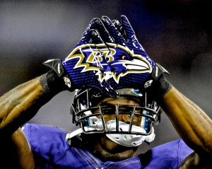Chykie-Brown-Baltimore-Ravens-gloves-logo