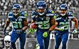 Dec 9, 2012; Seattle, WA, USA; Seattle Seahawks cornerback Richard Sherman (25) is accompanied by safety Kim Chancellor (31) and free safety Earl Thomas (31) on a 19-yard interception return for a touchdown against the Arizona Cardinals at CenturyLink Field. Mandatory Credit: Kirby Lee/Image of Sport-USA TODAY Sports