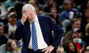 Dec 18, 2015; San Antonio, TX, USA; San Antonio Spurs head coach Gregg Popovich on the sidelines against the Los Angeles Clippers at the AT&T Center. San Antonio won 115-107. Mandatory Credit: Erich Schlegel-USA TODAY Sports