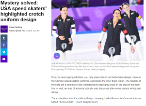 article link: https://sports.yahoo.com/mystery-solved-usa-speed-skaters-highlighted-crotch-uniform-design-032302223.html
